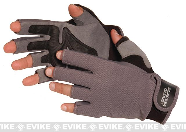 Glacier Gloves Grey Stripping/Fighting Fingerless Gloves (Size: Large)