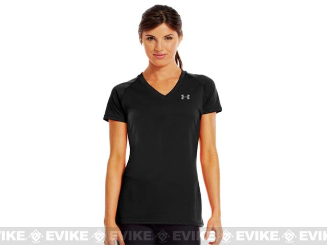z Under Armour Women's UA Tech Short Sleeve V-Neck - Black (Size: Small)