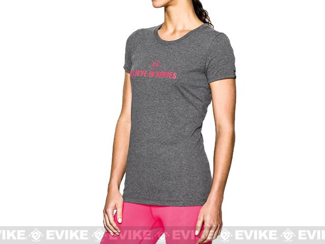 Under Armour Women's UA WWP Believe In Heroes T-Shirt - Carbon Heather (Size: Extra Small)