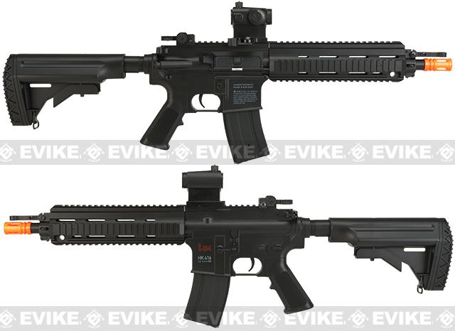 H&K Licensed 416 CQB Airsoft AEG Rifle & MK23 Spring Pistol Combat Kit by Umarex - Black
