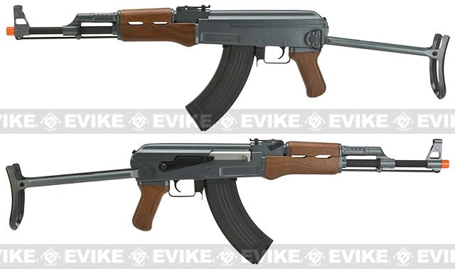 CYMA CM028S AK47S Under-Folding Airsoft AK47 AEG Rifle - Simulated Wood Furniture (Package: Add Battery + Charger)