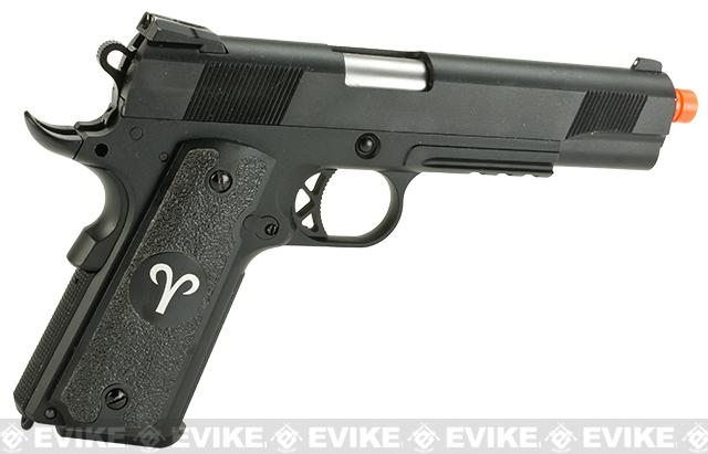 Evike.com Nostradamus Custom 1911 Gas Blowback Airsoft Pistol with Angel Custom Tac-Glove Grips (Sign: Aries)