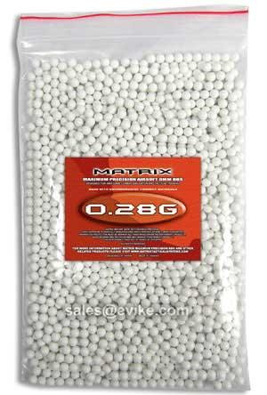 Matrix 0.28g Match Grade 6mm Airsoft BB - 2000/ White
