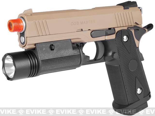 CQB Master Limited Edition Full Metal 4.3 HICAPA Railed Frame Heavy Weight Airsoft Gas Blowback Pistol (Tan)