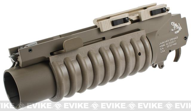 G&P Airsoft Quick Lock QD M203 Grenade Launcher - Extra Short / Dark Earth