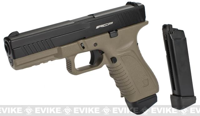 APS ACP Full Metal CO2 Powered Airsoft GBB Gas Blowback Pistol with Extra Magazine - Dark Earth