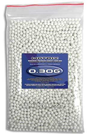 Matrix 0.30g Match Grade 6mm Airsoft BB - 2,000/ White