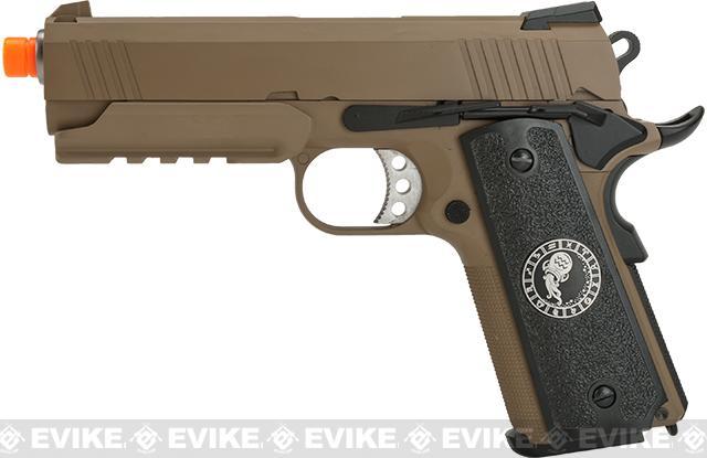Evike.com Nostradamus Custom 1911 4.3 Desert Warrior Gas Blowback Airsoft Pistol with Angel Custom Tac-Glove Grips (Sign: Aquarius)
