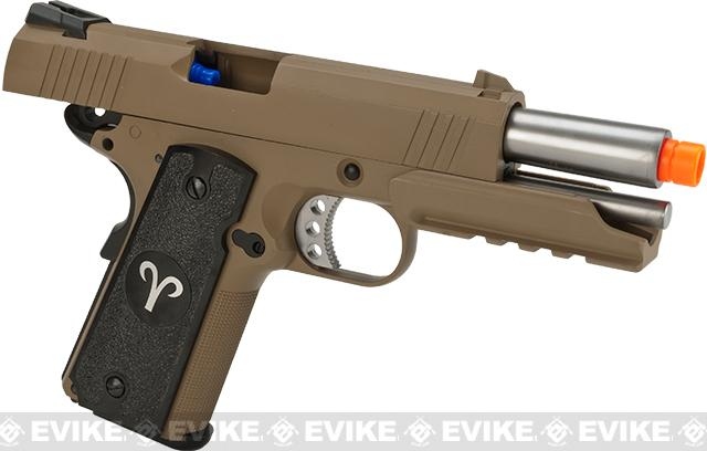 Evike.com Nostradamus Custom 1911 4.3 Desert Warrior Gas Blowback Airsoft Pistol with Angel Custom Tac-Glove Grips (Sign: Aries)