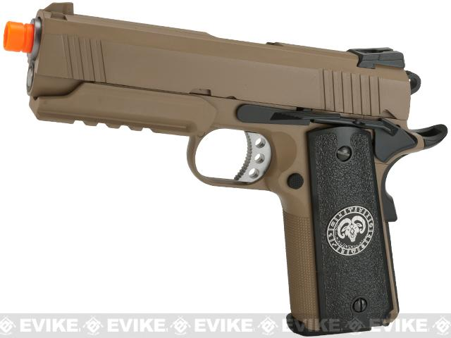 Pre-Order ETA September 2017 Evike.com Nostradamus Custom 1911 4.3 Desert Warrior Gas Blowback Airsoft Pistol with Angel Custom Tac-Glove Grips (Sign: Aries)