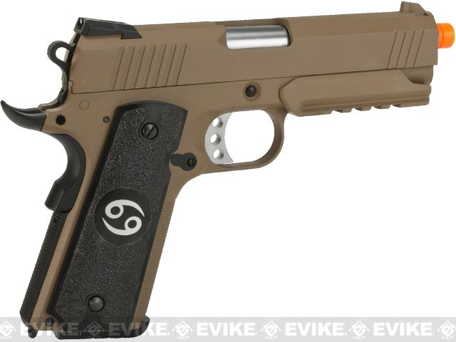 Evike.com Nostradamus Custom 1911 4.3 Desert Warrior Gas Blowback Airsoft Pistol with Angel Custom Tac-Glove Grips (Sign: Cancer)