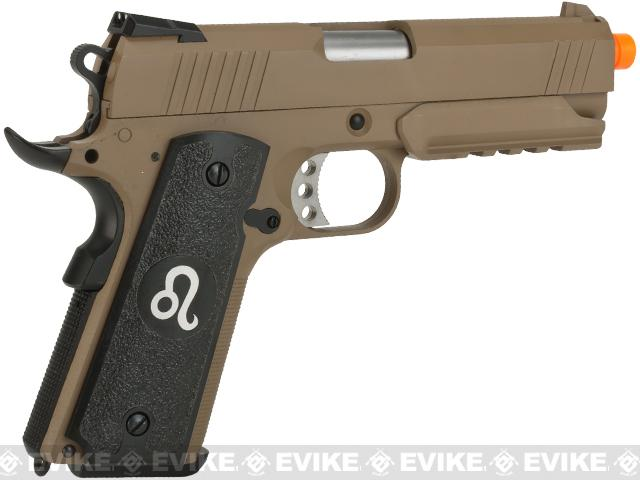 Evike.Evike.com Nostradamus Custom 1911 4.3 Desert Warrior Gas Blowback Airsoft Pistol with Angel Custom Tac-Glove Grips (Sign: Leo)