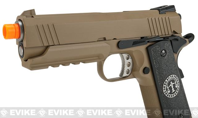 Evike.com Nostradamus Custom 1911 4.3 Desert Warrior Gas Blowback Airsoft Pistol with Angel Custom Tac-Glove Grips (Sign: Libra)