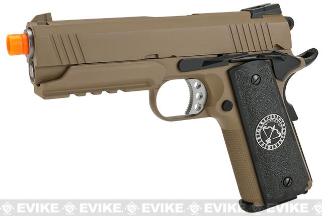 Evike.com Nostradamus Custom 1911 4.3 Desert Warrior Gas Blowback Airsoft Pistol with Angel Custom Tac-Glove Grips (Sign: Sagittarius)
