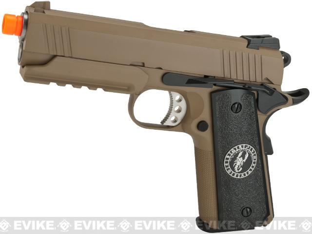 Evike.com Nostradamus Custom 1911 4.3 Desert Warrior Gas Blowback Airsoft Pistol with Angel Custom Tac-Glove Grips (Sign: Scorpio)