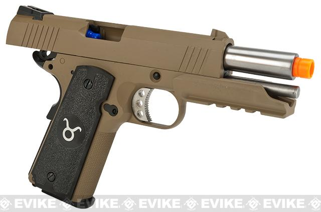 Evike.com Nostradamus Custom 1911 4.3 Desert Warrior Gas Blowback Airsoft Pistol with Angel Custom Tac-Glove Grips (Sign: Taurus)
