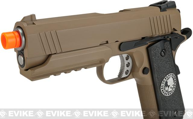 Evike.com Nostradamus Custom 1911 4.3 Desert Warrior Gas Blowback Airsoft Pistol with Angel Custom Tac-Glove Grips (Sign: Virgo)