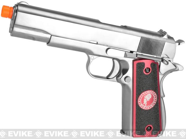 Evike.com Nostradamus Custom Stainless Steel 1911 Gas Blowback Airsoft Pistol with Angel Custom Tac-Glove Grips (Sign: Aquarius)