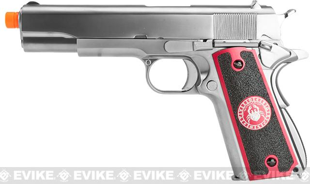 Evike.com Nostradamus Custom Stainless Steel 1911 Gas Blowback Airsoft Pistol with Angel Custom Tac-Glove Grips (Sign: Cancer)