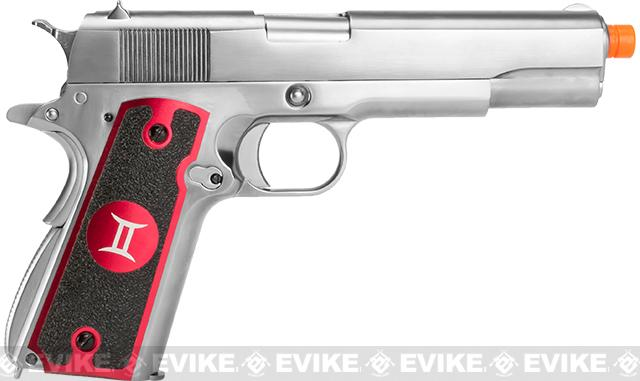 Evike.com Nostradamus Custom Stainless Steel 1911 Gas Blowback Airsoft Pistol with Angel Custom Tac-Glove Grips (Sign: Gemini)