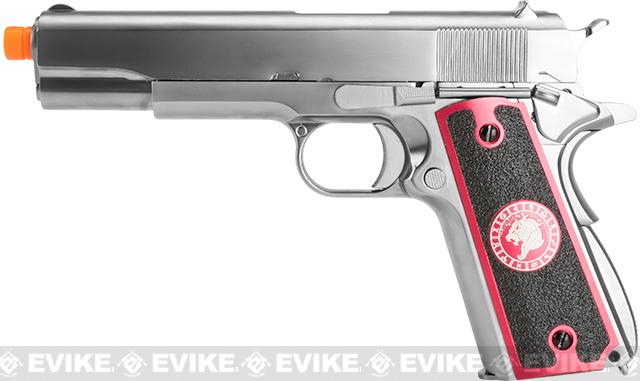 Evike.com Nostradamus Custom Stainless Steel 1911 Gas Blowback Airsoft Pistol with Angel Custom Tac-Glove Grips (Sign: Leo)
