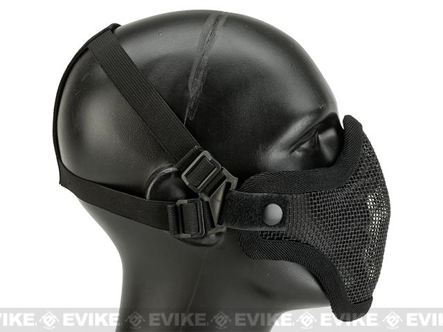 Matrix Iron Face Carbon Steel Mesh Striker V1 Lower Half Mask - Black (Two-Strap Model)