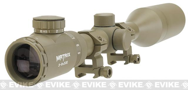 Matrix 3-9x50 Illuminated Reticle Sniper Scope - Desert