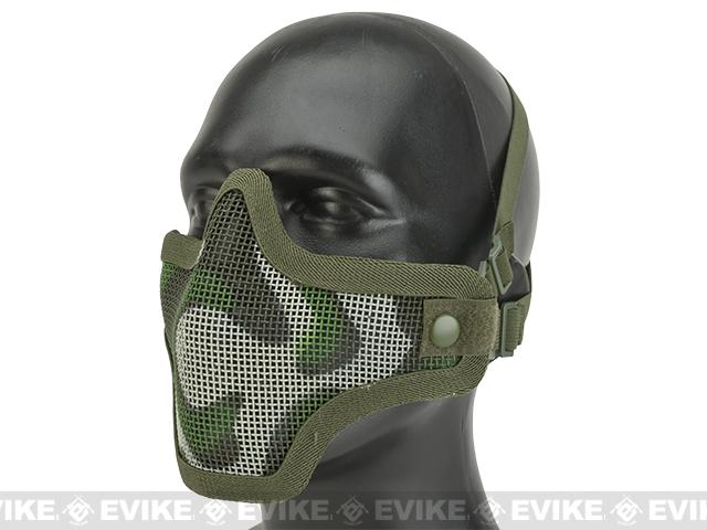 Matrix Iron Face Carbon Steel Mesh Striker V1 Lower Half Mask - Woodland Camo (Two Strap Model)