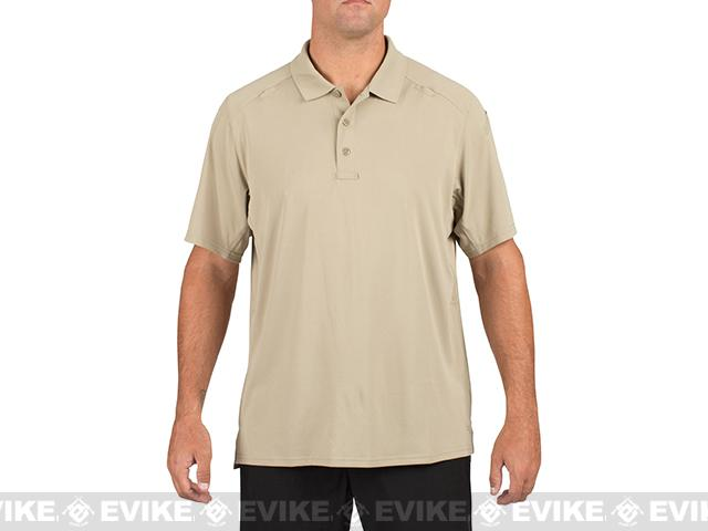 z 5.11 Tactical Helios Short Sleeve Polo - Silver Tan (Size: Small)