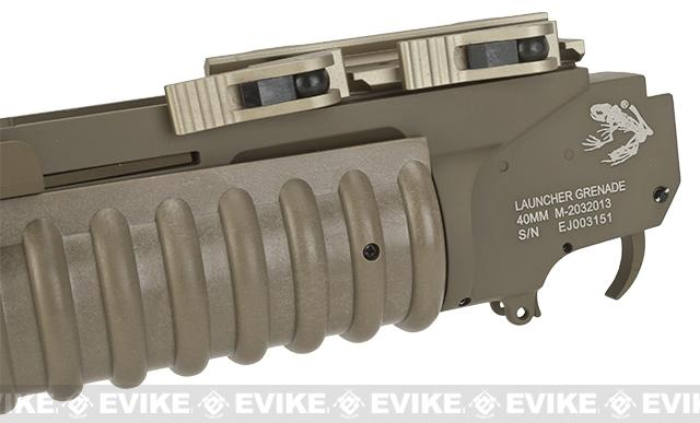 G&P QD M203 Grenade Launcher for Airsoft Rifles with Rail Systems - Long / Dark Earth