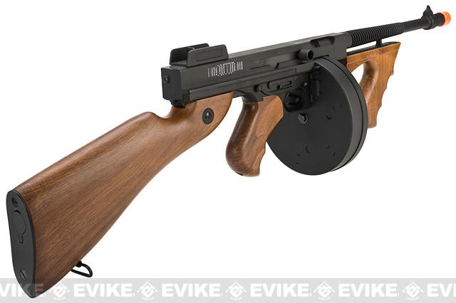 Pre-Order ETA September 2016 Cybergun Licensed Thompson Chicago Typewriter  Airsoft AEG Rifle w/ Drum Mag - (Package: Gun Only)
