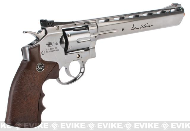 Dan Wesson CO2 8 High Power Airsoft 6mm Magnum Gas Revolver by ASG - Silver / Wood
