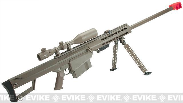 Snow Wolf Custom Long Range Airsoft AEG Sniper Rifle (V.2 Gearbox) - Tan / Long Barrel