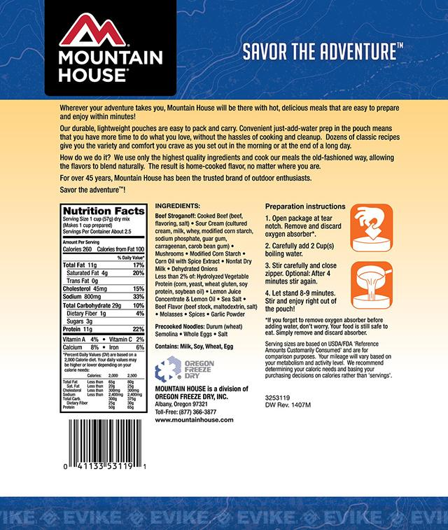 Mountain House Freeze Dried Entree- Beef Stroganoff