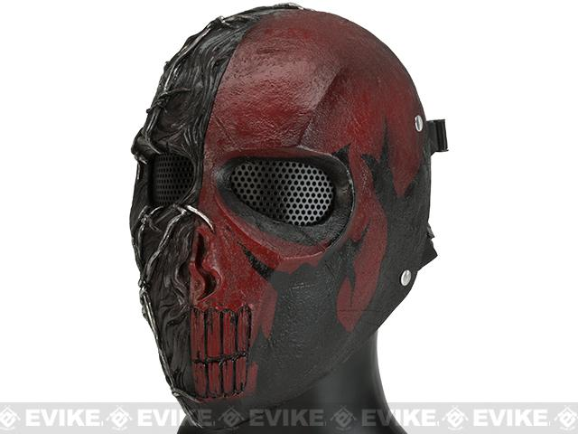 Evike.com R-Custom Fiberglass Wire Mesh Erebos Full Face Mask - Red and Black Skull