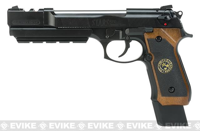 WE-Tech Barry Burton Custom Biohazard M9 Limited Edition Airsoft Gas Blowback Pistol - Semi Auto/Full-Auto (Imitation Wood Grip)