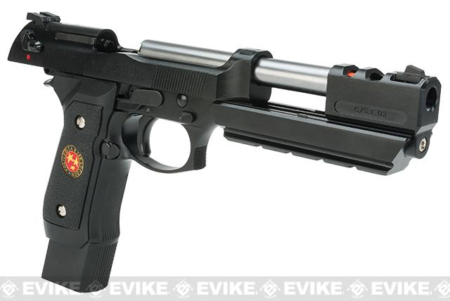 WE-Tech Barry Burton Custom Gen2 Biohazard M9 Limited Edition Airsoft Gas Blowback Pistol - Semi Auto/Full-Auto (Black Grip)
