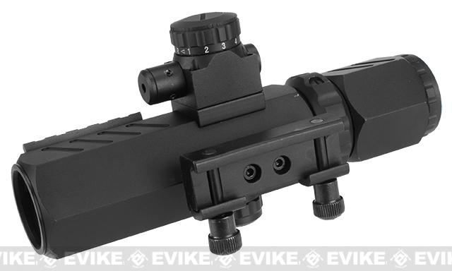Aim Sports Recon 2-6 X 32 Variable Zoom Dual illuminated Reticle Scope with Red Laser
