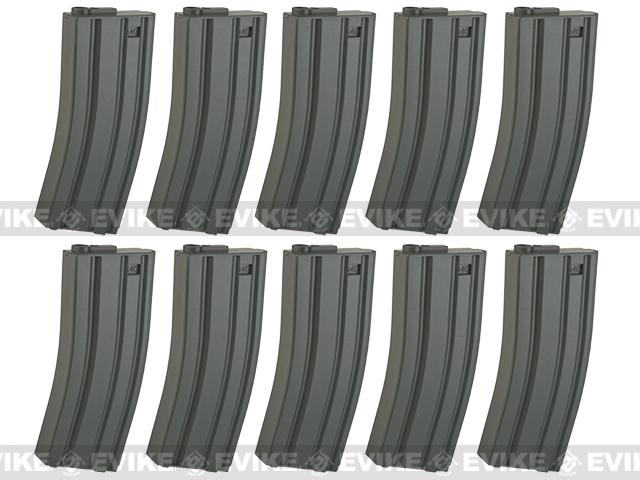 6mmProShop 140rd Midcap Magazine for M4 M16 Series Airsoft AEG Rifles - Grey / Set of 10