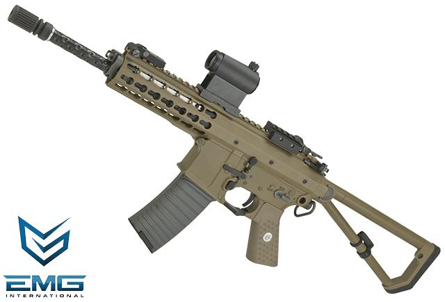 EMG Knights Armament Airsoft PDW M2 Gas Blowback Airsoft Rifle - Tan / Long Barrel (Version: with CO2 Magazine)