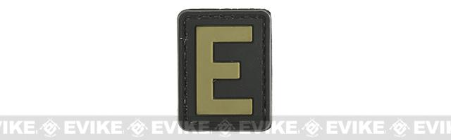 Evike.com PVC Hook and Loop Letter Patch - E (Black / Tan)