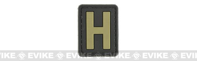 Evike.com PVC Hook and Loop Letter Patch - H (Black / Tan)