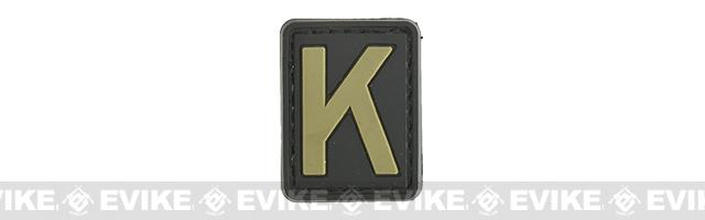 Evike.com PVC Hook and Loop Letter Patch - K (Black / Tan)