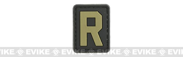 Evike.com PVC Hook and Loop Letter Patch - R (Black / Tan)