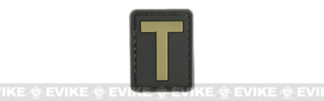 Evike.com PVC Hook and Loop Letter Patch - T (Black / Tan)