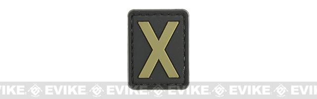 Evike.com PVC Hook and Loop Letter Patch - X (Black / Tan)
