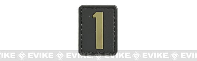 Evike.com PVC Hook and Loop Number Patch - 1 (Black / Tan)