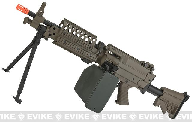 A&K / Matrix Full Metal MK46 Airsoft Machine Gun with Retractable Stock - Dark Earth