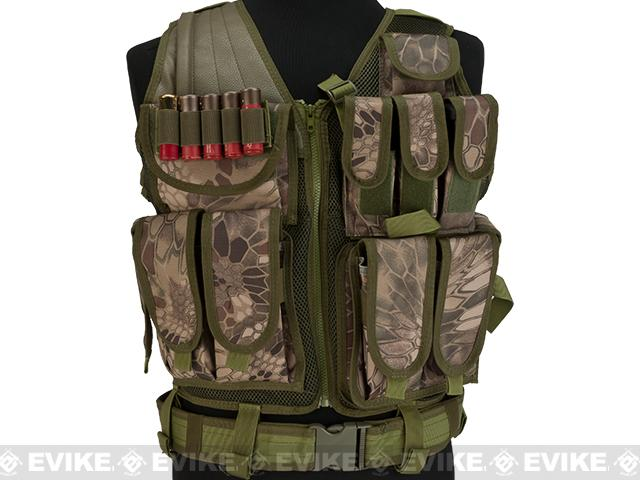 Matrix Special Force Cross Draw Tactical Vest w/ Built In Holster & Mag Pouches - Woodland Serpent