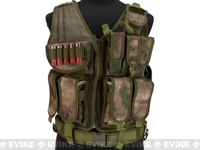 Matrix Special Force Cross Draw Tactical Vest w/ Built In Holster & Mag Pouches - Arid Foliage